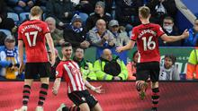 Shane Long of Southampton celebrates after scoring his team's second goal against Leicester City at The King Power Stadium (Photo by Ross Kinnaird/Getty Images)