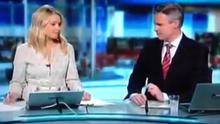 Sharon Ni Bheolain was caught whispering just before the news