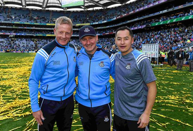 Dublin manager Jim Gavin with selector Declan Darcy, left, and Jason Sherlock, right, forwards coach, after the GAA Football All-Ireland Senior Championship Final match between Dublin and Mayo at Croke Park in Dublin. Photo by Ray McManus/Sportsfile