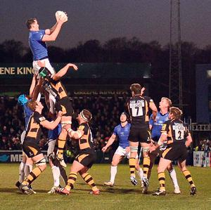 Leinster's Devin Toner wins a lineout during the Amlin Challenge Cup quarter-final victory over Wasps at Adams Park on Friday night