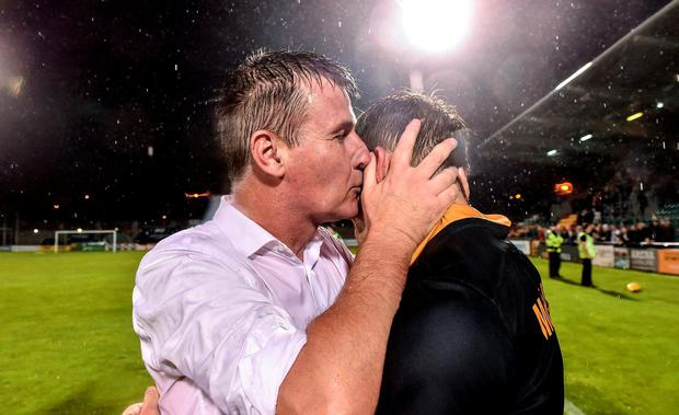 Dundalk manager Stephen Kenny, left, celebrates with David McMillan after the UEFA Champions League Third Qualifying Round 2nd Leg match between Dundalk and BATE Borisov at Tallaght Stadium in Tallaght, Co. Dublin. Photo by David Maher/Sportsfile