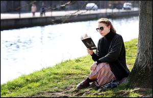 Making the most of it: Matilde Sperlinga from Portobello settles down with a good book. Picture: Steve Humphreys