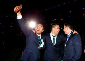 Simon Zebo and Conor Murray of Ireland celebrate victory.  (Photo by Richard Heathcote/Getty Images)