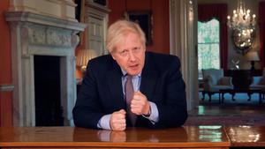 Address: A screen grab of Boris Johnson delivering his speech from 10 Downing Street. Photo: PA