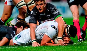 Rob Herring gets over the line for Ulster's first try