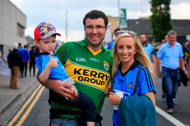 Tadhg Spillane (3), Alan Spillane, from Maynooth, and Jill Fitzgerald, from Rathfarnam. Photo: Gareth Chaney Collins