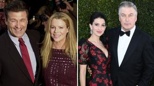 Alec Baldwin and ex-wife Kim Basinger, left, and Alec Baldwin with wife Hilaria