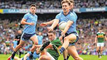 Kerry's Stephen O'Brien has his shot blocked by Dublin's Michael Fitzsimons during last year's drawn All-Ireland SFC final
