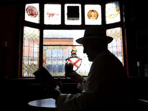 Bloomsday 2020.  Tom Fitzgerald enjoys an early morning pint with Ulysses in his pub in Glasthuile village  Picture; Gerry Mooney