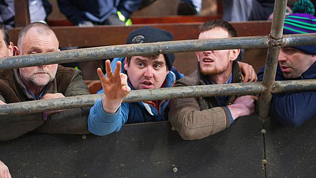 In the thick of it: Kevin Quinn gets in a bid at Mohill Mart. Photo: Brian Farrell