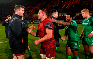 Chris Farrell and CJ Stander of Munster after the Guinness PRO14 Round 13 match between Munster and Connacht at Thomond Park