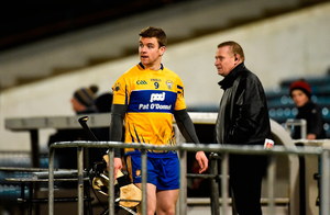 Tony Kelly of Clare leaves the pitch after being sent off by referee Colm Lyons