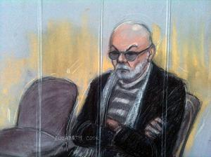 Court artist sketch by Elizabeth Cook of Gary Glitter appearing at Southwark Crown Court in London. Photo: Elizabeth Cook/PA Wire