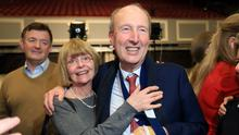 Defeated: Shane Ross pictured with his wife Ruth Buchanan after he was eliminated in the Dublin Rathdown constituency at the 2020 General Election count in the RDS. Photo: Frank McGrath