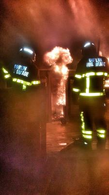 Firefighters deal with a mobile home fire in Donabate. Picture: @DubFireBrigade