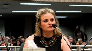 Survivor Aoife Beary (right) and her mother Angela at the hearing this week in California on a new bill to make construction safer Picture: AP