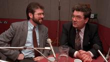 SIDE BY SIDE: Gerry Adams and John Hume in a BBC radio studio in March 1992, the first time the pair had met since the SDLP Sinn Féin talks in 1988. Their talks the following year were strongly criticised by Sunday Independent writers. Photo: Pacemaker