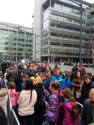 Crowds queuing to get into Gamercon. Picture Darren Byrne (@larsson007)