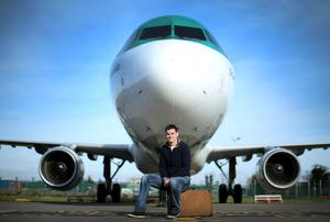 Johnny Sexton was In Dublin Airport. where he was unveiled as an Aer Lingus ambassador. Photo: INPHO/Billy Stickland 2015