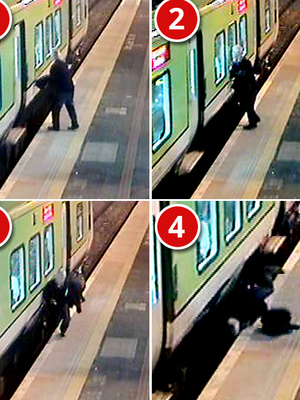 Images show the man falling as a train arrives in Donabate in north Dublin
