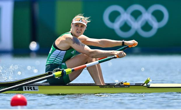 Sanita Pupure of Ireland on her way to finishing 1st in the Women's Single Sculls quarter-final at the Sea Forest Waterway during the 2020 Tokyo Summer Olympic Games in Tokyo, Japan. Photo by Seb Daly/Sportsfile