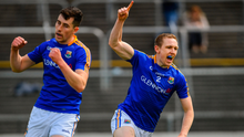 Longford's Patrick Fox, right, celebrates after scoring his side's second goal of the game during the GAA Football All-Ireland Senior Championship Round 1 match against Carlow. Photo by Ramsey Cardy/Sportsfile