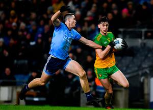 Michael Langan of Donegal in action against Brian Fenton of Dublin during the Allianz Football League Division 1 match at Croke Park in Dublin. Photo by Sam Barnes/Sportsfile