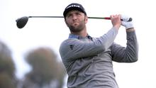 Jon Rahm plays his shot from the 14th tee during the third round of the Farmers Insurance Open. Photo: Orlando Ramirez-USA TODAY Sports