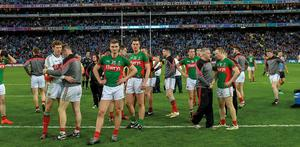 Mayo stand dejected in Croke Park after their defeat to Dublin in the 2016 All-Ireland SFC final replay