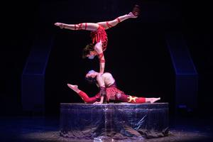 May: The Wuhan acrobatic troupe rehearse for a live online performance this week, as life with the virus goes on. Photo: Getty Images