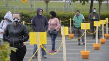 18/05/2020 Socially distanced queues into the B&Q hardware superstore and garden centre  in Liffey Valley Shopping Centre pictured this afternoon, on the first day of re-opening. Picture Colin Keegan, Collins Dublin