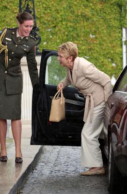 29/07/13 Former president, Mary McAleese pictured arriving this afternoon at Aras an Uachtarain for the Council of State meeting on the Abortion Bill....Picture Colin Keegan, Collins Dublin.