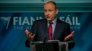 Fianna Fáil leader Micheál Martin pictured during his party's opening press conference for General Election 2020 on South Cumberland Street, Dublin. Photo:Gareth Chaney, Collins