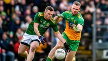 Meath's Joey Wallace in action against Neil McGee of Donegal during the Allianz Football League Division 1 Round 2 match at Páirc Tailteann in Navan, Meath. Photo: Daire Brennan/Sportsfile