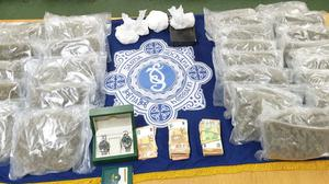 Substances thought to be cocaine, with a street value of €171,000 and suspected cannabis herb, worth €270,000 were seized.
