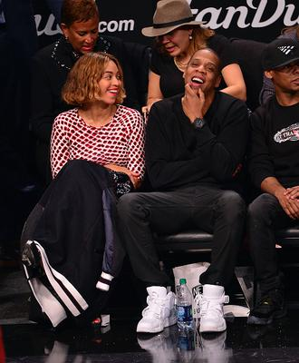 Beyonce Knowles and Jay-Z attend the Oklahoma City Thunder vs Brooklyn Nets game at Barclays Center