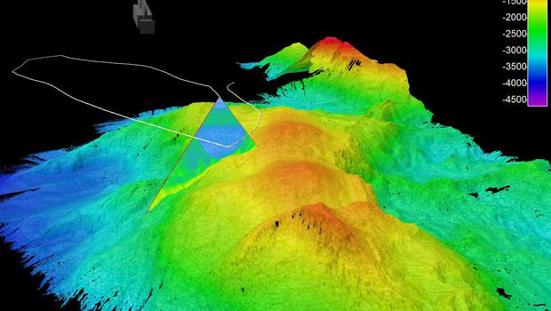 A 3-D image of the underwater mountain mapped by the team