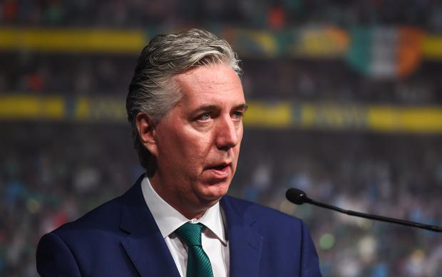 Former FAI Chief Executive John Delaney met with fans at the Horse Show House in his last public appearance in the role. Photo by David Fitzgerald/Sportsfile