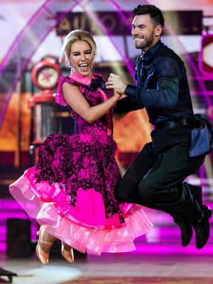 Country gal: Cliona Hagan and Robert Rowinski during the second live show of 'Dancing With The Stars'. Photo: Kyran O'Brien