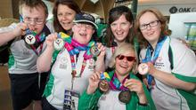 Atheltes returning from The World Games at Dublin Airport today; from left; Kayak Team, Ian Staunton (silver) Roisin Henry, Coach, Nuala Brown (2 silver), Angelina Foley, Coach, Rita Quirke (solver, bronze) and Nicola Higgins (bronze).