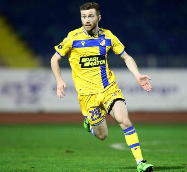 5 January 2021; Jack Byrne of APOEL in action during the Cyta Championship match between Doxa and APOEL at Makareio Stadium in Nicosia, Cyprus. Photo by Nicos Savvides/Sportsfile