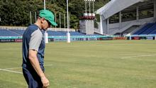 Ireland head coach Joe Schmidt inspects the pitch at the Fukuoka Hakatanomori Stadium where his side face Samoa this morning. Photo: ©INPHO/Dan Sheridan