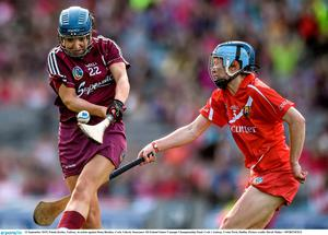 13 September 2015; Finola Keeley, Galway, in action against Rena Buckley, Cork. Liberty Insurance All Ireland Senior Camogie Championship Final, Cork v Galway. Croke Park, Dublin. Picture credit: David Maher / SPORTSFILE