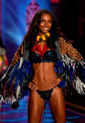 Model Jasmine Tookes walks the runway during the 2014 Victoria's Secret Fashion Show at Earl's Court Exhibition Centre on December 2, 2014 in London, England.  (Photo by Dimitrios Kambouris/Getty Images for Victoria's Secret)