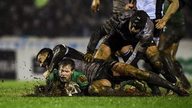 3 March 2017; Kieran Marmion of Connacht is tackled by Lloyd Greeff and Tommaso Castello, right, of Zebre during the Guinness PRO12 Round 17 match between Connacht and Zebre at the Sportsground in Galway. Photo by Matt Browne/Sportsfile