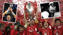 Liverpool celebrate in 2005, Tom Brady after this year's Super Bowl (left) and Dennis Taylor in action in 85 (right)