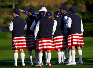 Team U.S. fans take directions from a steward during the 40th Ryder Cup at Gleneagles in Scotland September 26, 2014.     REUTERS/Eddie Keogh (BRITAIN  - Tags: SPORT GOLF)