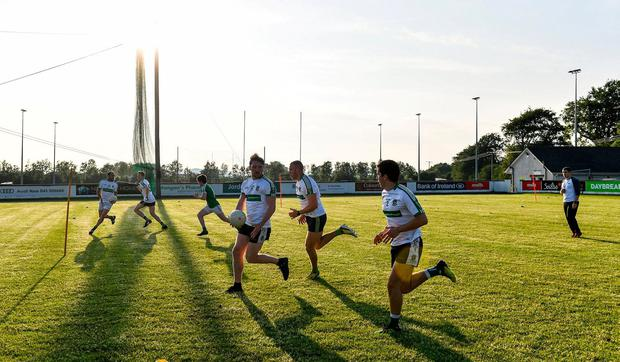 A general view during a Moorefield Senior Football Squad training session at Moorefield GAA club in Newbridge, Kildare. Following approval from the GAA and the Irish Government, the GAA released its safe return to play protocols, allowing pitches to be opened for non contact training on 24 June and for training and challenge games to resume from 29 June. Photo: Piaras Ó Mídheach/Sportsfile