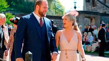 James Haskell and Chloe Madeley arrive at St George's Chapel at Windsor Castle for the wedding of Meghan Markle and Prince Harry. PRESS ASSOCIATION Photo. Picture date: Saturday May 19, 2018. See PA story ROYAL Wedding. Photo credit should read: Gareth Fuller/PA Wire