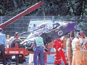 The fatal crash at the San Marino Grand Prix on May 1, 1996 at the Imola circuit which claimed the life of Ayrton Senna, who is still regarded by many as the greatest F1 driver ever to have lived. Photo: Getty Images